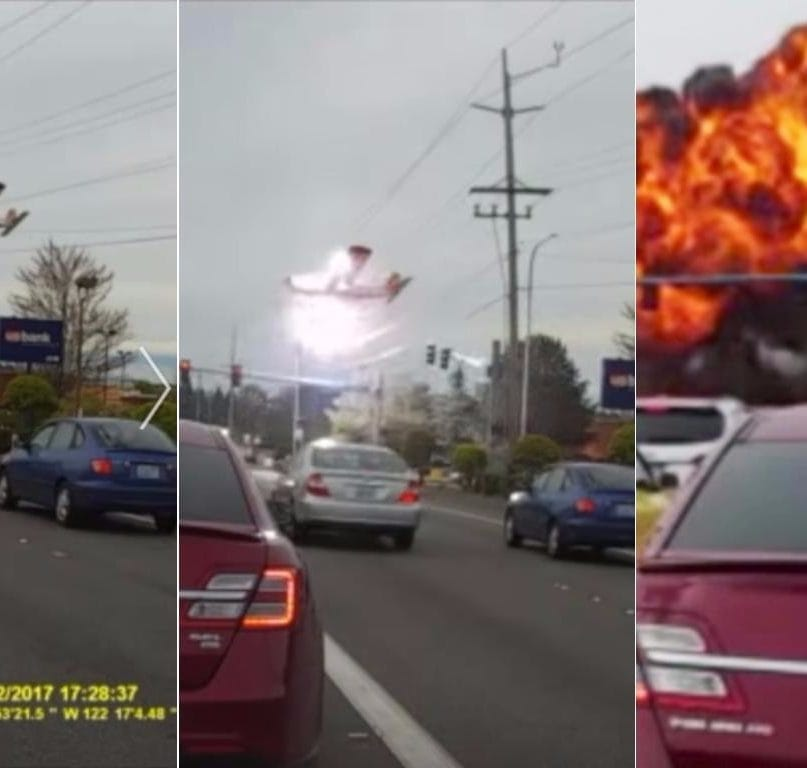 Dash Cam Records Plane Crashing Then Exploding At Busy Intersection